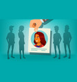 human recruitment woman hand picking vector image vector image