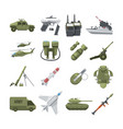 icon set of different army weapons military and vector image