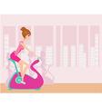 Indoor Cycling - Girls cycling at Gym vector image vector image