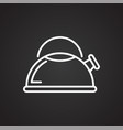 kettle line icon on black background for graphic vector image