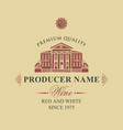 label for wine with old house and statues vector image vector image