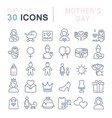 set line icons mothers day vector image vector image