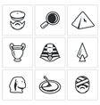 set of egypt icons archaeology search