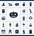 set of halloween icons simple scary elements vector image
