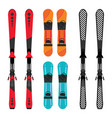 set of snowboard and skis equipment vector image