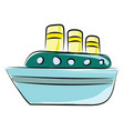 ship on sea on white background vector image vector image
