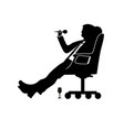 silhouette man businessman sitting in a modern vector image vector image