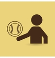 silhouette man point ball volley vector image vector image