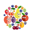 silhouettes of berries and fruits with eyes Icons vector image vector image