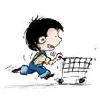 Smiling Boy Shopping vector image