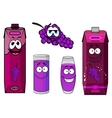 Smiling grape and juice packs cartoon characters vector image vector image