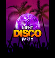 summer beach party disco poster design disco ball vector image