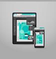 tablet and smartphone screns cross platform vector image vector image