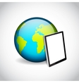 Tablet PC and planet vector image vector image