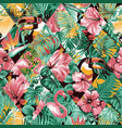 tropical leaves hibiscus and birds patchwork vector image