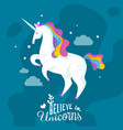 unicorn cartoon background vector image