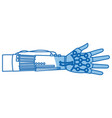 virtual reality with thin line hands up concept vector image vector image