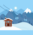 winter vacation landscape mountain ski resort vector image