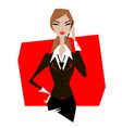 woman in suit talking on phone vector image vector image