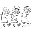 women in three different costumes vector image vector image