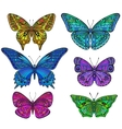 Set of six ornate doodle butterflies isolated on vector image