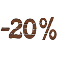 20 Wood percentage icon - isolated on the white vector image vector image