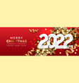 2022 merry christmas and happy new year horizontal vector image vector image