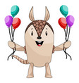 armadillo with balloons on white background vector image vector image