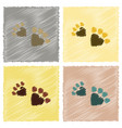 assembly flat shading style icons cat tracks vector image vector image