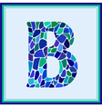 B - letter - Green Watercolor mosaic vector image