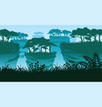 background with rock pillars and forest vector image vector image