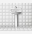 bathroom interior with white sink realistic vector image