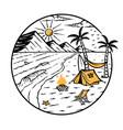 beach and mountain views vector image