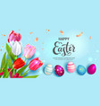 blue tulips banner vector image vector image