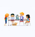boys and girls standing and sitting around desk vector image vector image