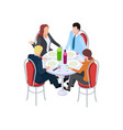 business meeting collegues in cafe work lunch vector image vector image