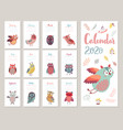 calendar 2020 cute monthly calendar with vector image