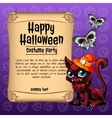 Cat and butterfly with banner happy Halloween vector image vector image