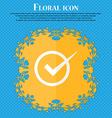Check mark sign icon Checkbox button Floral flat vector image vector image