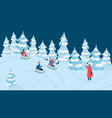 children sledding in winter forest fun outdoor vector image vector image
