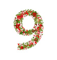 christmas floral tree number 9 vector image vector image