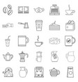 coffee house icons set outline style vector image vector image