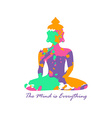 Colorful Grunge Isolated Buddha Silhouette vector image vector image