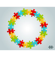 colorful puzzle pieces round frame vector image