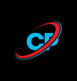 cp c p letter logo design initial letter cp vector image vector image