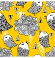 Creative seamless pattern with doodle bird and vector image vector image