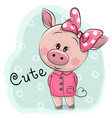 cute piggy girl isolated on a blue background vector image vector image