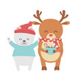cute polar bear with hat and deer with gift merry vector image vector image