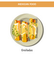 delicious ensiladas under sauce on plate from vector image vector image