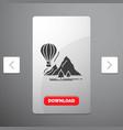 explore travel mountains camping balloons glyph vector image vector image